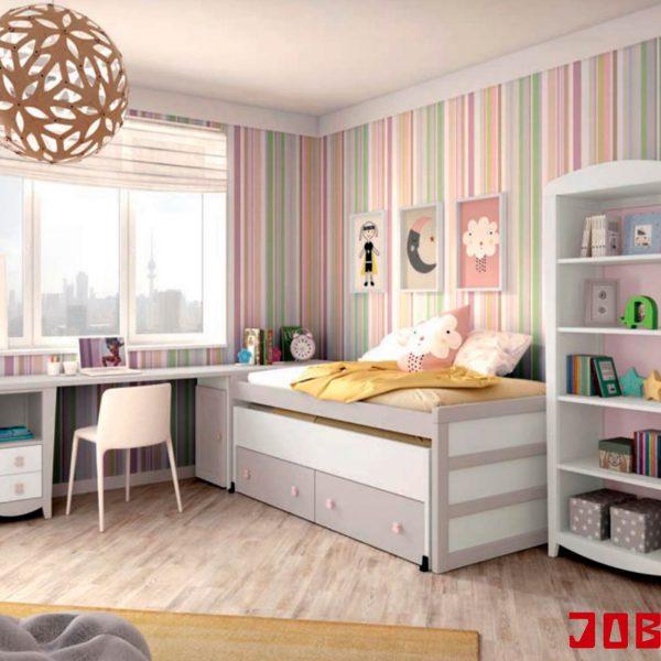 Cama compacta lacada beig y blanca muebles jobe - Cama compacta con cajones ...